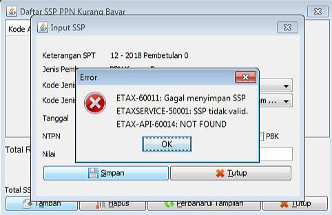 Mengatasi Etax 60011 Gagal Menyimpan Ssp Afandi